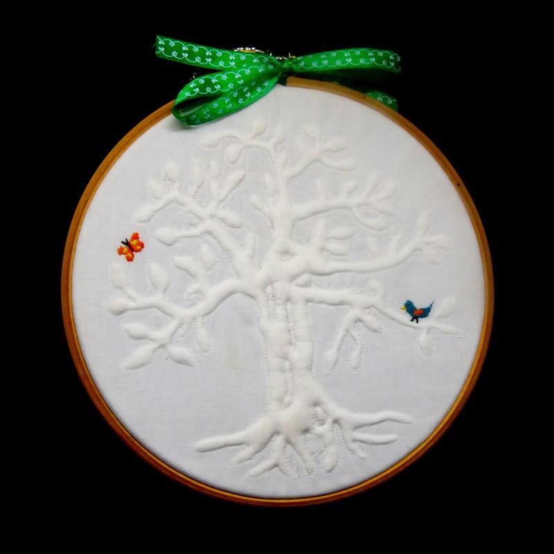 Broderie en Trapunto : L'arbre de Vie